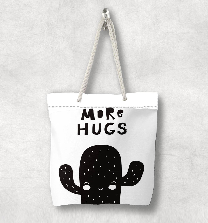 Else Black White More Hugs Cactus Scandinavian White Rope Handle Canvas Bag  Cartoon Print Zippered Tote Bag Shoulder Bag
