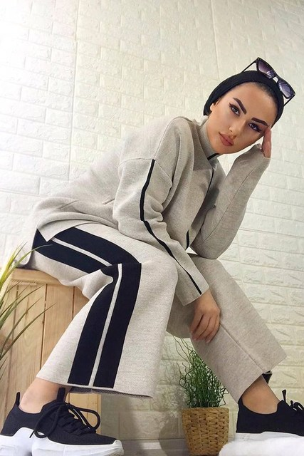 2 Pieces Knitwear Stripe Detailed Women's Double Set Pullover and Pants  2