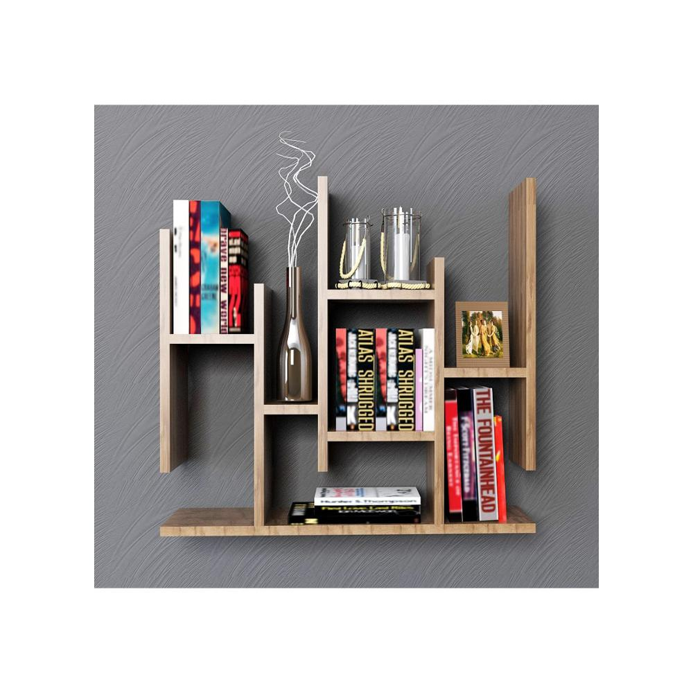Shelf&Shelf MADE IN TURKEY Modern Shelf Decorative Brown Living Room Wood Wall Book Holder Organizer Bookshelf Rack Bookcase
