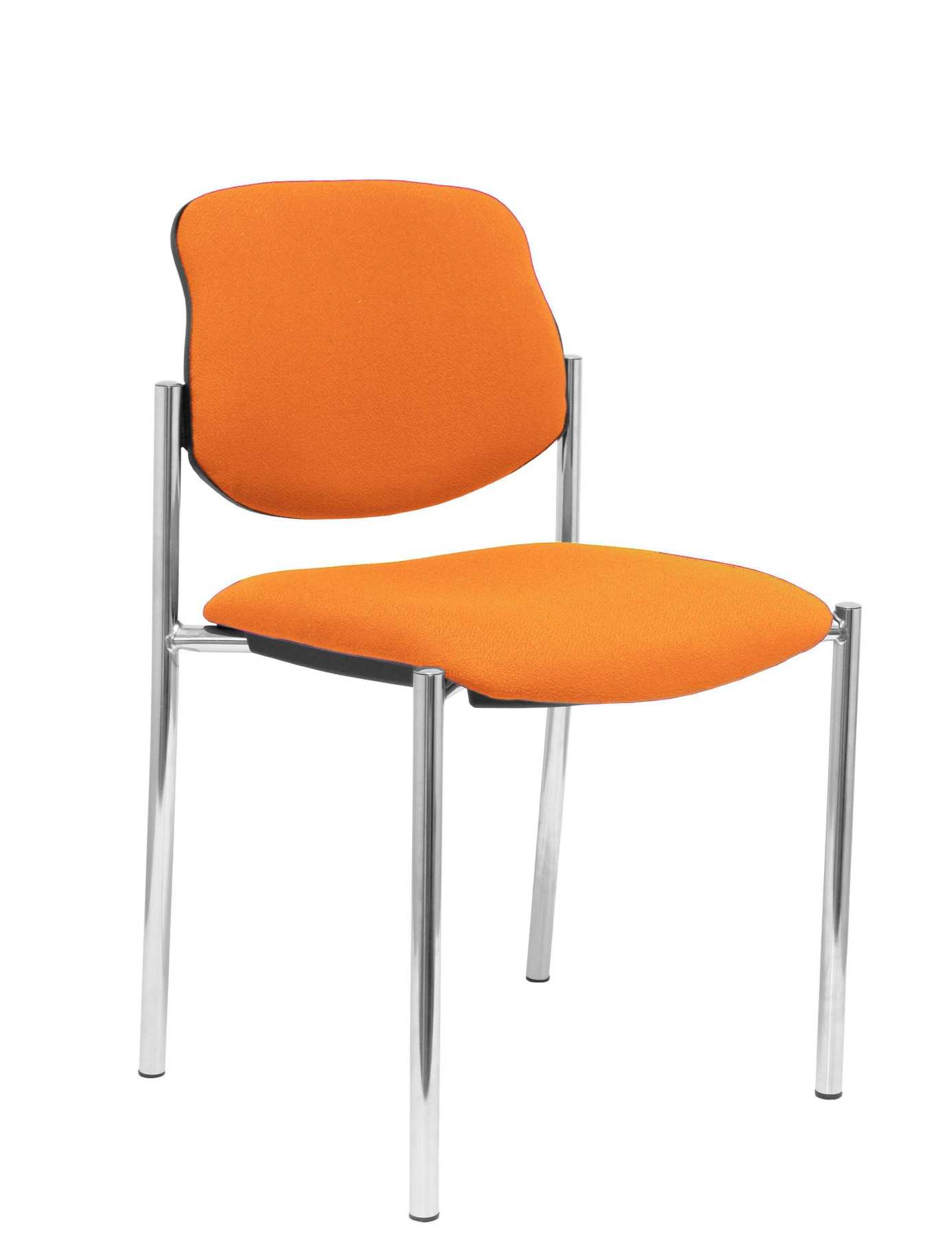Confident Chair 4-leg And Estructrua Chrome Seat And Back Upholstered In Fabric BALI Orange PIQUERAS And