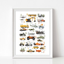Cars Alphabet Prints Montessori Educational Poster Learning Letter ABC Transportation Truck Art Canvas Painting Kids Boys Decor(China)