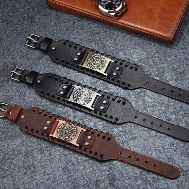 Norse Runes Vegvisir Compass Viking Bracelet Nordic Wristbands Compass Wide Leather Bangle Nordic Men Bracelet Jewelry 6