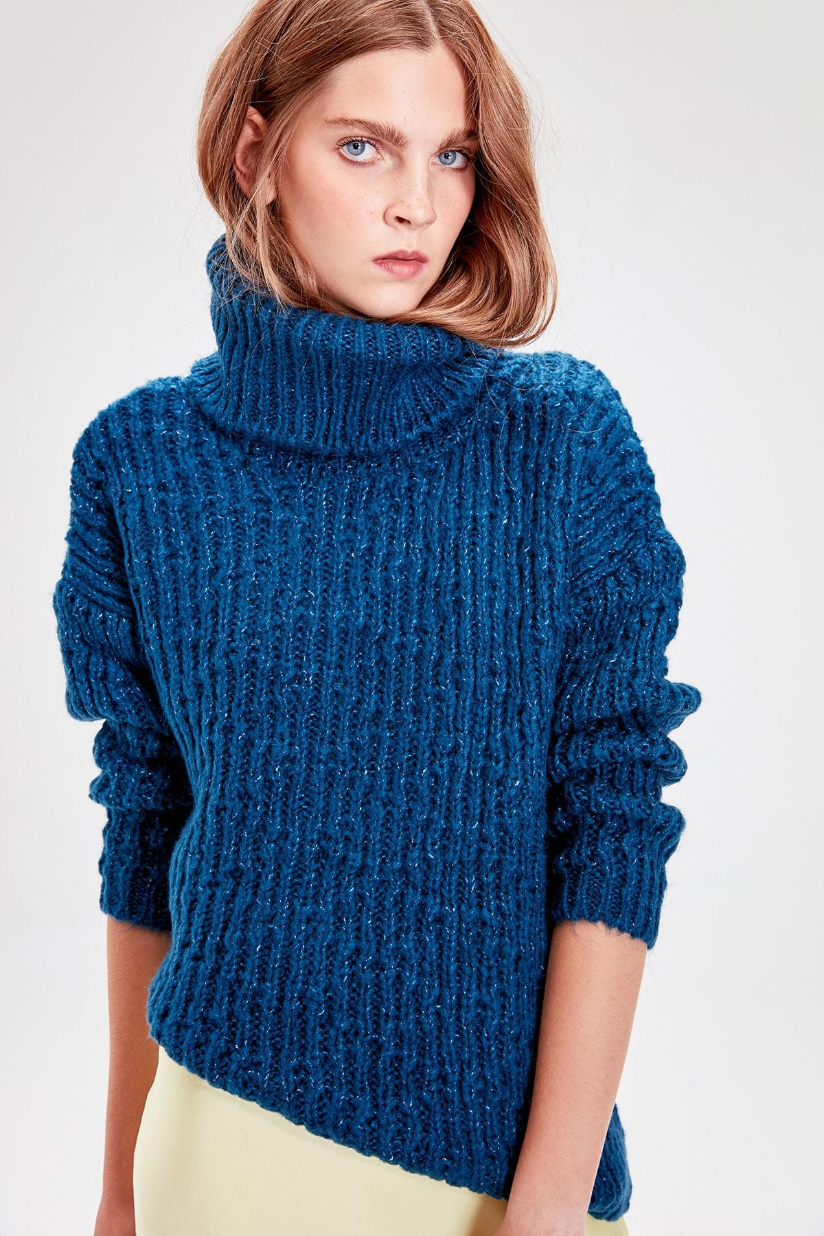 Trendyol Turquoise Turtleneck Sweater Sweater TWOAW20FH0034
