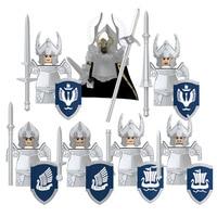 Vendita singola cavalieri medievali gruppo di guerra soldati militari figura arma Building Block giocattoli educativi per bambini KT1051