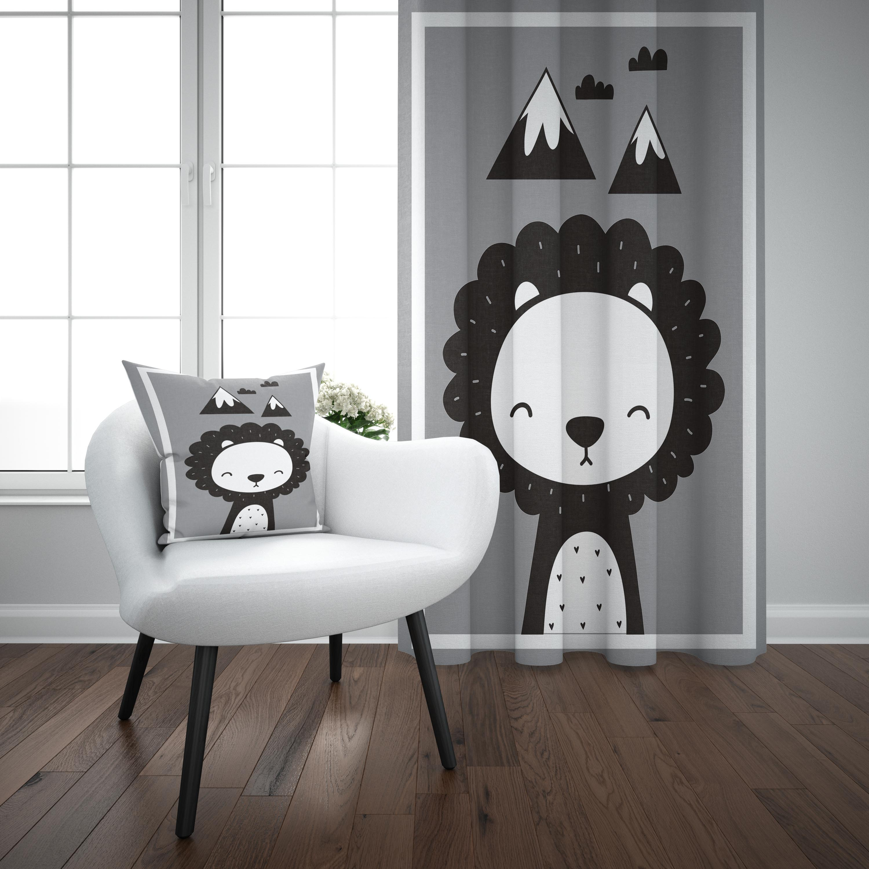 Else Gray Black White Lion Mountains Animal Nordec 3d Print Kids