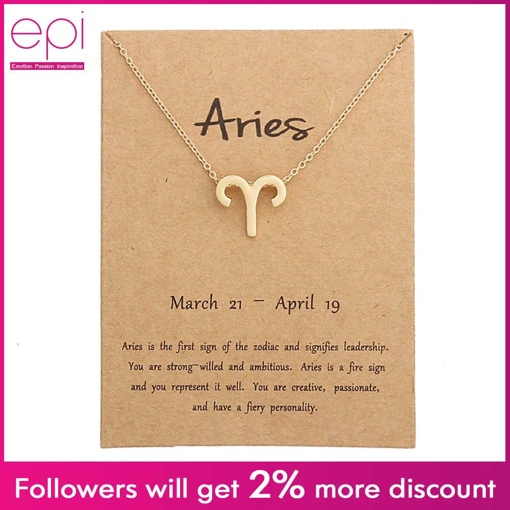 EPI 12 takımyıldızı kolye altın kolye takı gerdanlık burç özel kolye doğum günü hediyeleri mesaj kartı kadınlar kız için