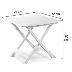 Stół składany z żywicy biały 79x72x70 cm. na