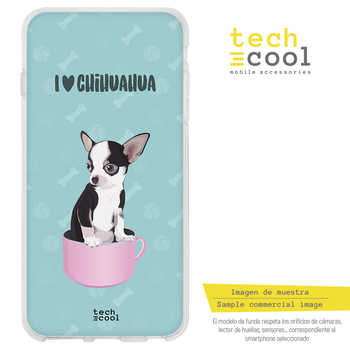 FunnyTech®Stand case for LG Q6 Silicone/Q6 +/Q6 Alpha L pets people I love Chihuahua fund Blue