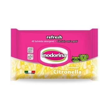 INODORINA REFRESH 40 Toallitas Limpiadoras para Mascotas con Fragancia a Citronella