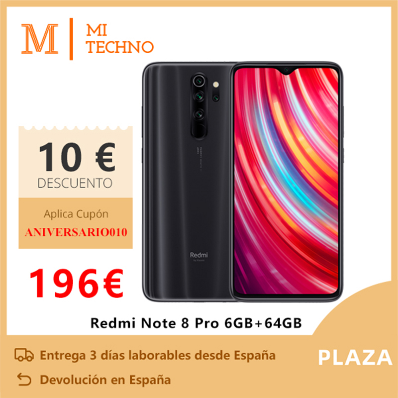 Xiaomi Redmi Note 8 Pro Smartphone(6GB RAM 64GB ROM Telefono Movil Free New NFC Android Quad Camera) [Global Version]