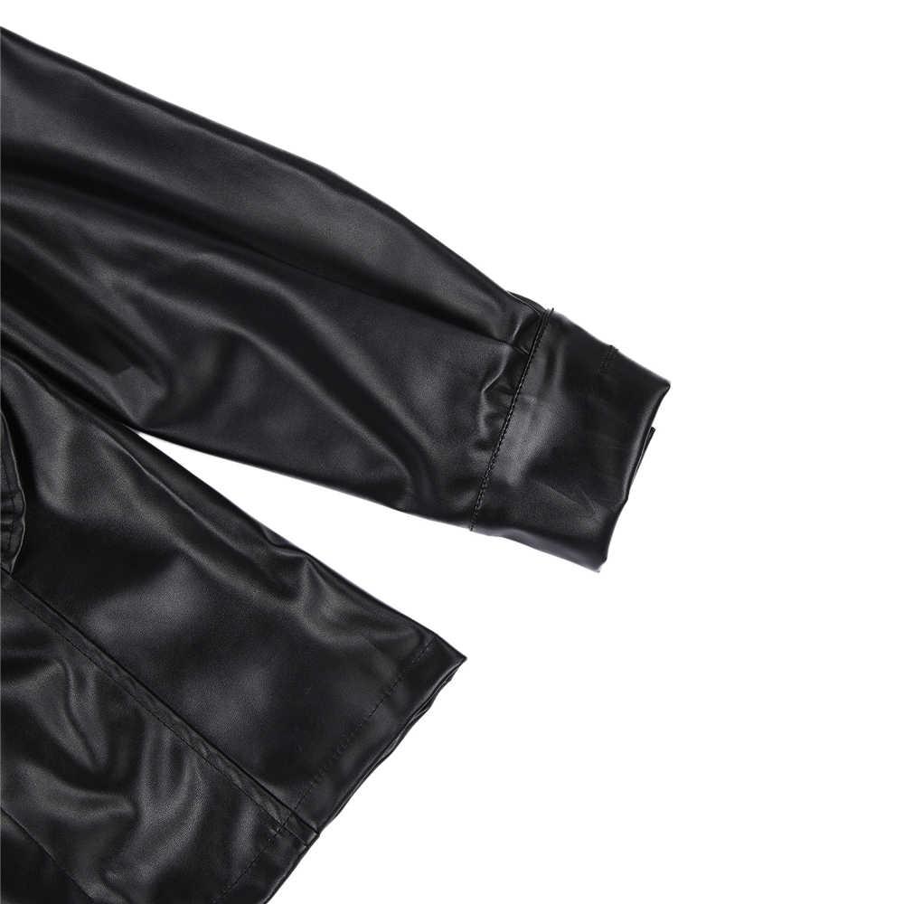 Tunique noire Vintage pour femmes chemises en cuir PU à manches longues, à volants, mode Sexy col en V, boutons, chemisier, vêtements de fête