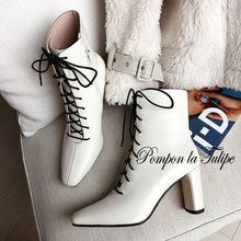 BHS 9011161 Fashion Chic Genuine Cow Leather 8CM High Heel Pointed Toe Cross Tied Lace up Comfy Casual Wear Women Boots