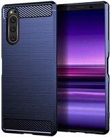 Case Sony Xperia 5 color blue (blue), carbon series, caseport