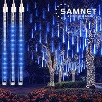 16 tubi natale LED Meteor Shower ghirlanda festone festa striscia luce esterna impermeabile fata luce per la decorazione di strada