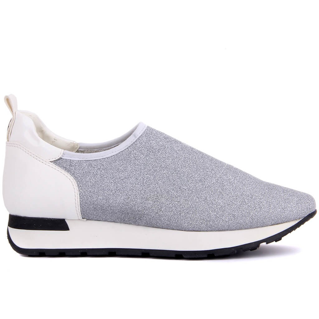Sail Lakers-Silver Stretch Women Sneakers Daily Casual Ladies Shoes