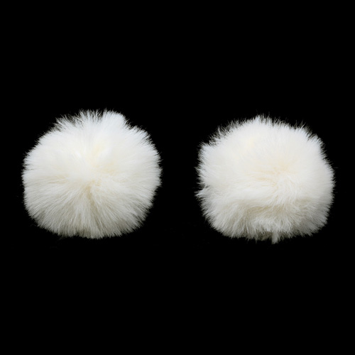 Pompon Made Of Artificial Fur (rabbit), D-6cm, 2 Pcs/pack (B Champagne)