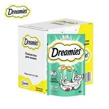 Лакомство для кошек Dreamies подушечки с кроликом, 6 шт по 60г