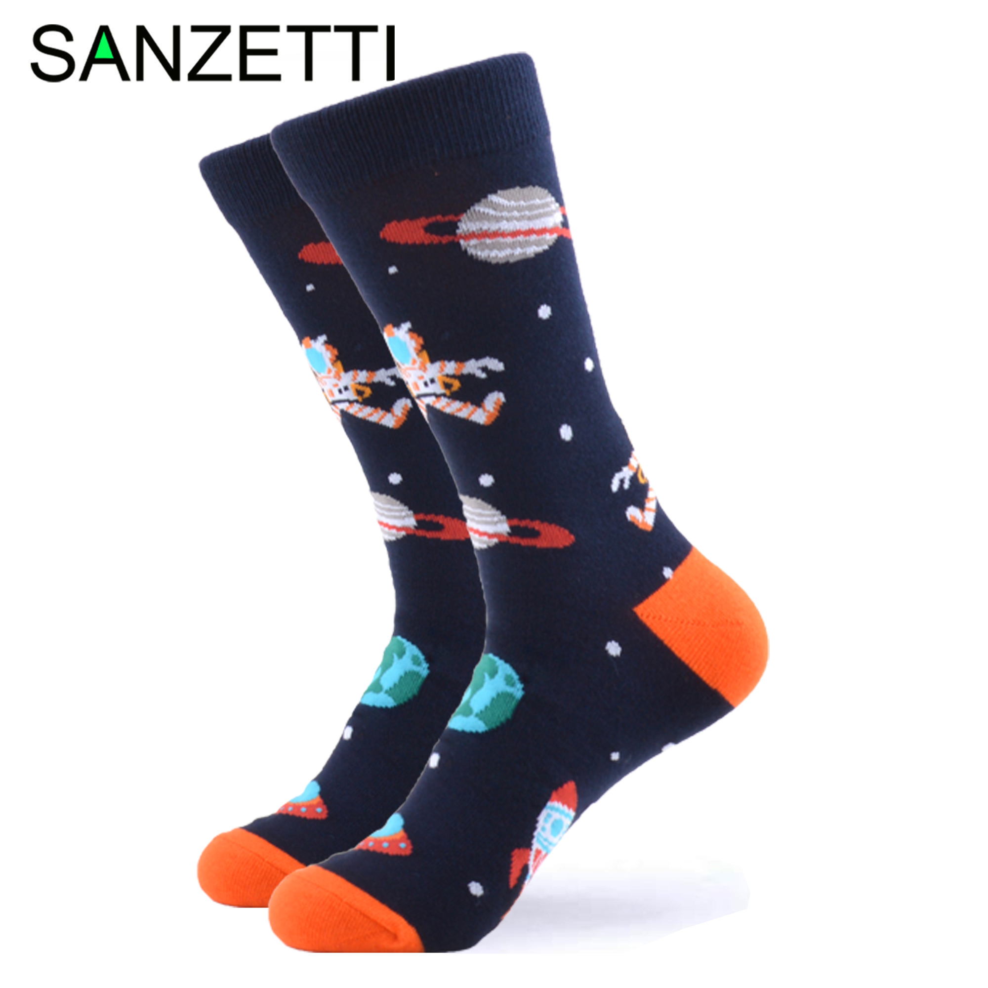 SANZETTI 1 Pair Happy Men's Socks Starry Sky Colorful Comfortable Combed Cotton Animal Funny Pattern Gift Wedding Dress Gym Sock