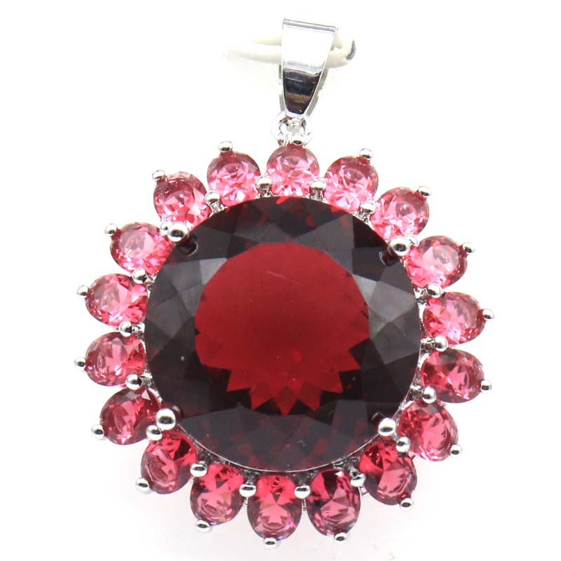 40x31mm  Elegant Created Round Shape 20mm Pink Raspberry Rhodolite Garnet Gift For Woman's Silver Pendant