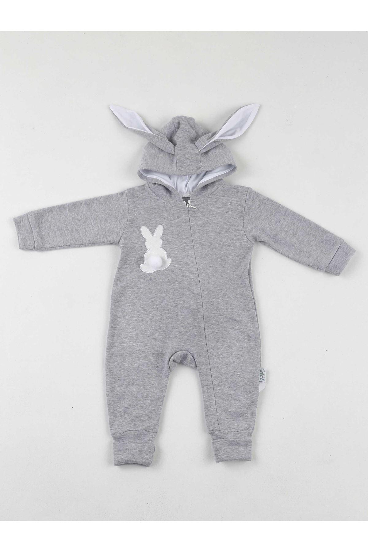 Gray Eared Rabbit Pompom Baby Jumpsuit