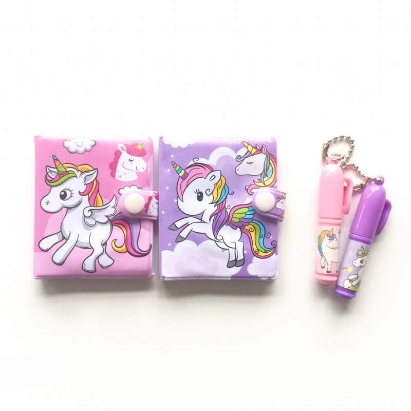 1 Pcs Kawaii Eenhoorn Flamingo Draagbare Cartoon Notebook + Balpen Set School Office Supply Gift Voor Kid Creatieve Groothandel