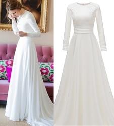 Real Photo Einfache Langarm Plain Satin Hochzeit Kleid Brautkleid Braut Nach Maß fabrik preis