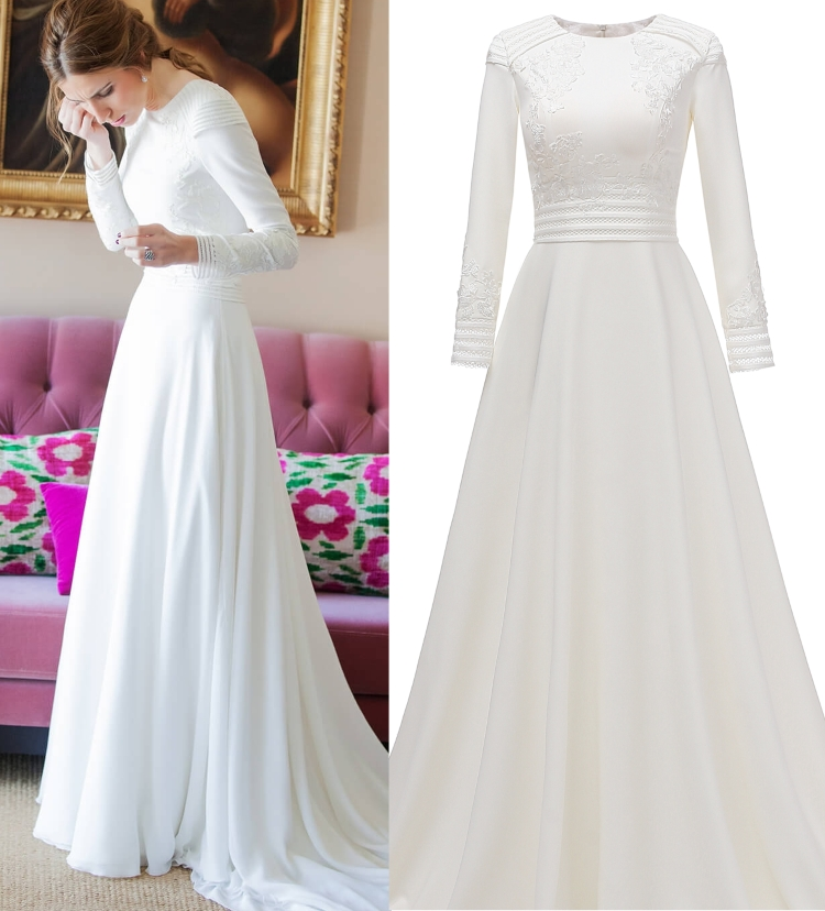 Real Photo Simple Long Sleeve Plain Satin Wedding Dress Bridal Gown Bride Custom Made Factory Price