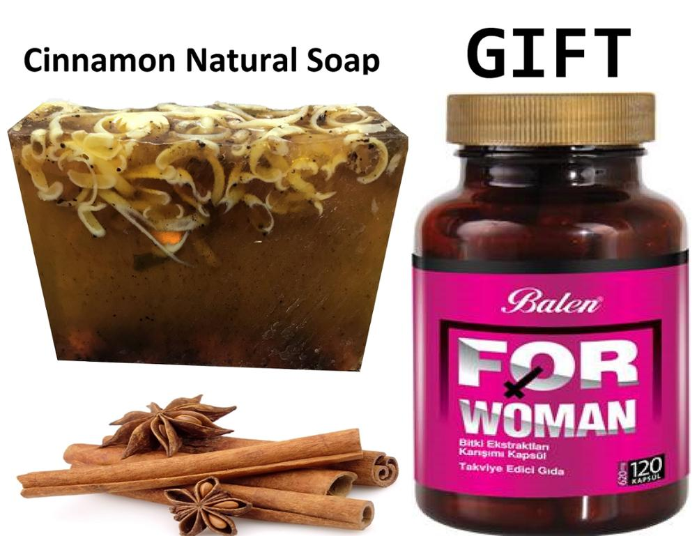 Anti Acne Cinnamon Natural Handmade Soaps 100 Gr+Gift Food Supplement For WOMAN Health Female Regulate Oestrogen Level 120 Capsl