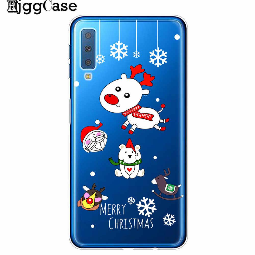 Joyeux Noël Téléphone étui Pour Samsung A5 A6 A7 A8 A9 2018 2017 A40 A30 A50 A70 2019 Dessin Animé Père Noël Wapiti Neige Souple étui En Polyuréthane