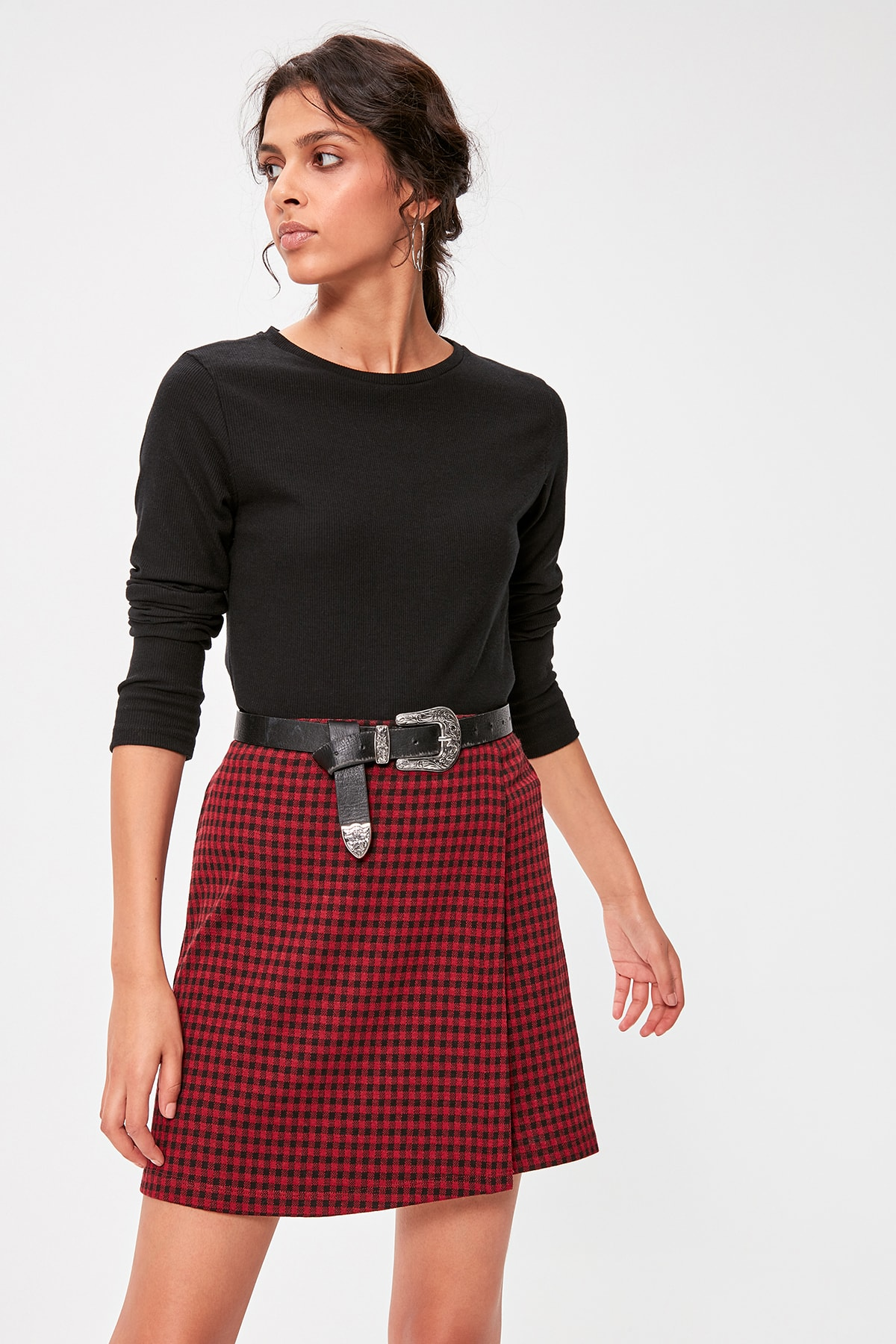Trendyol Burgundy Gingham Knitted Skirt TWOAW20ET0278