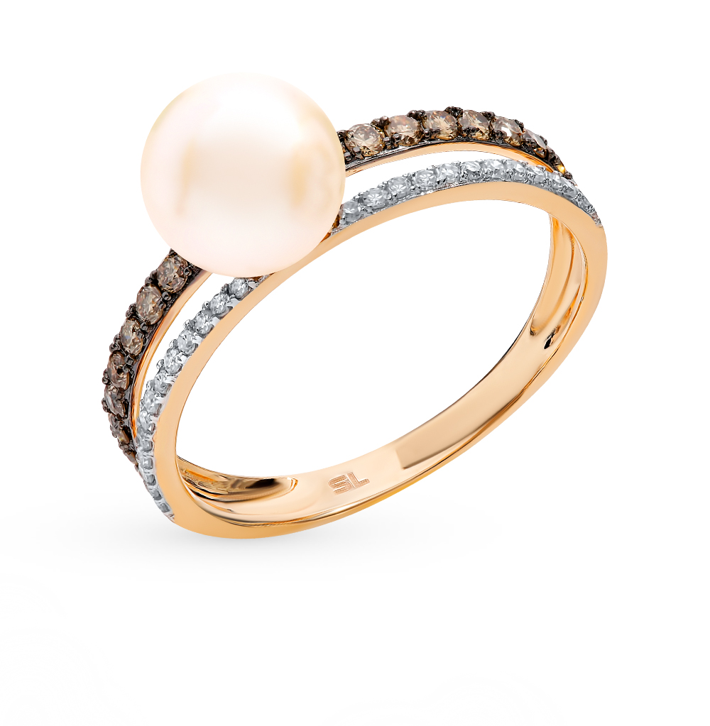 Gold Ring With Cognac Diamonds, Pearls Sunlight Sample 585