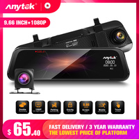 Anytek Voice Control Car Dvr Mirror Dash Cam Dual Camera FHd Drive Recorder Streaming Media RearView Mirror 10IPS Touch Screen
