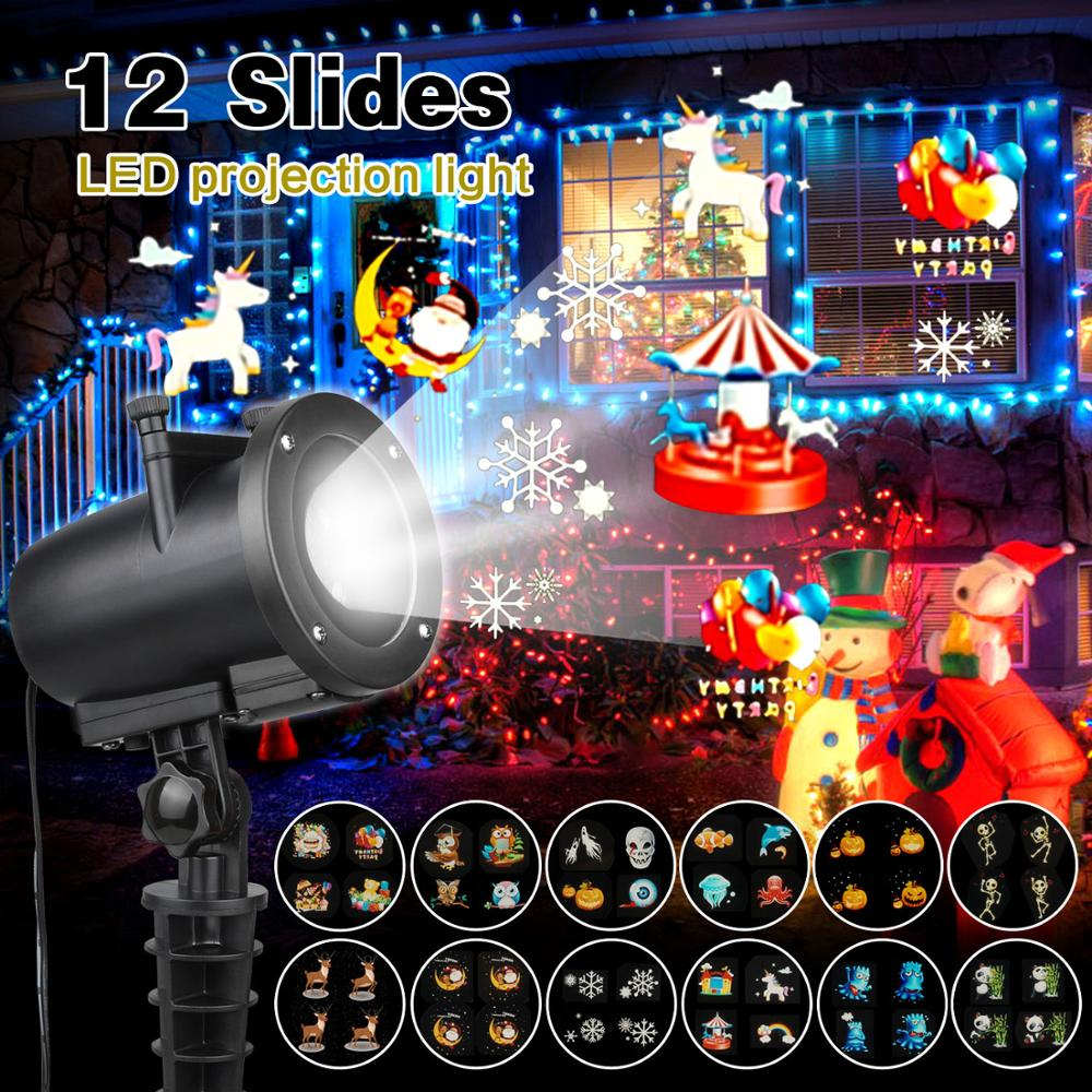 12 Themes Christmas Laser Projector Snowflake Laser Light Halloween Stage Lamp Party Landscape Shower New Year Xmas Dec