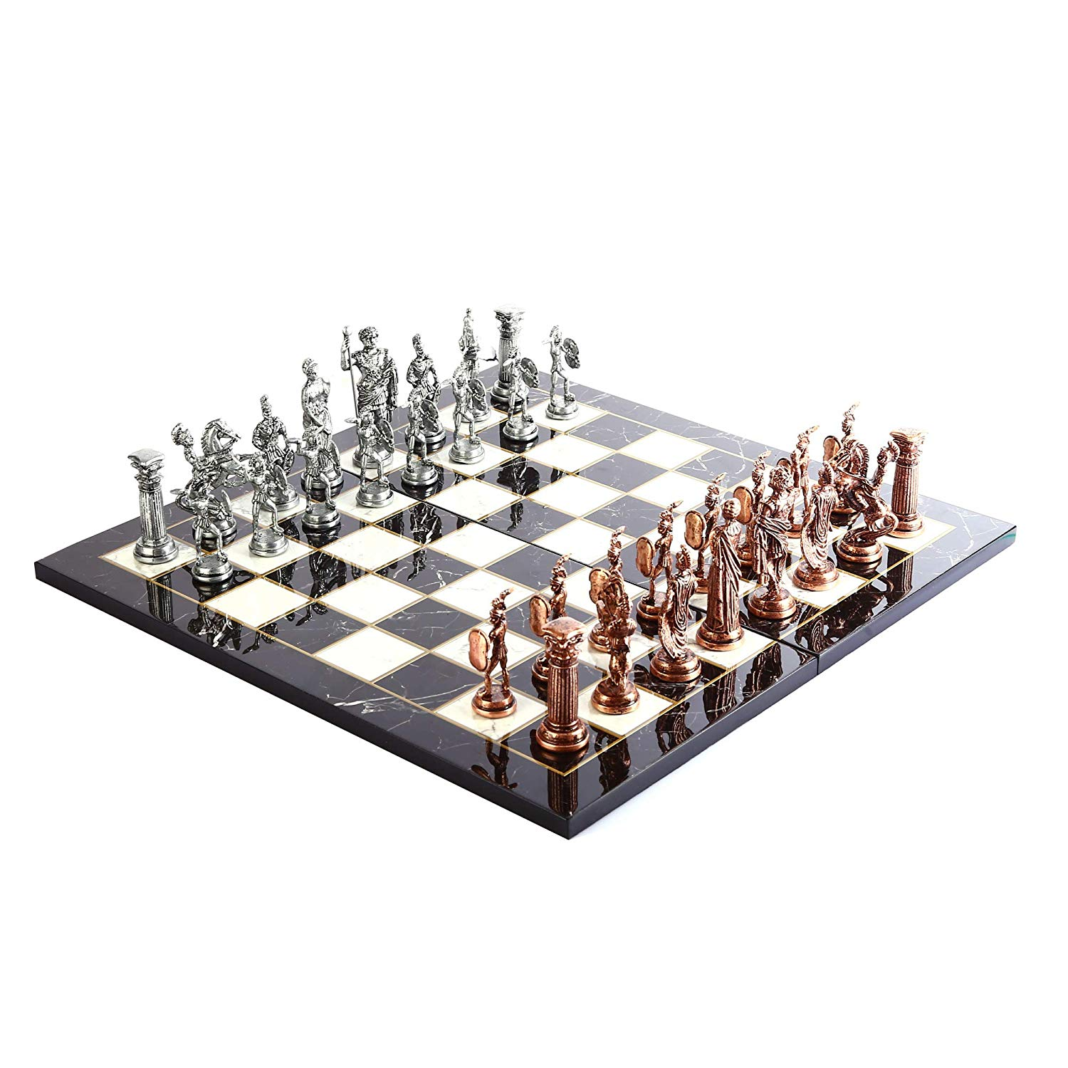 Historical Antique Copper Rome Figures Metal Chess Set for Adult,Handmade Pieces and Marble Design Wood Chess Board King 11 cm 1