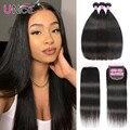 Волосы Unice 5x5 HD, кружевные волосы с пряди, перуанские прямые человеческие волосы, пряди с незаметной кружевной застежкой