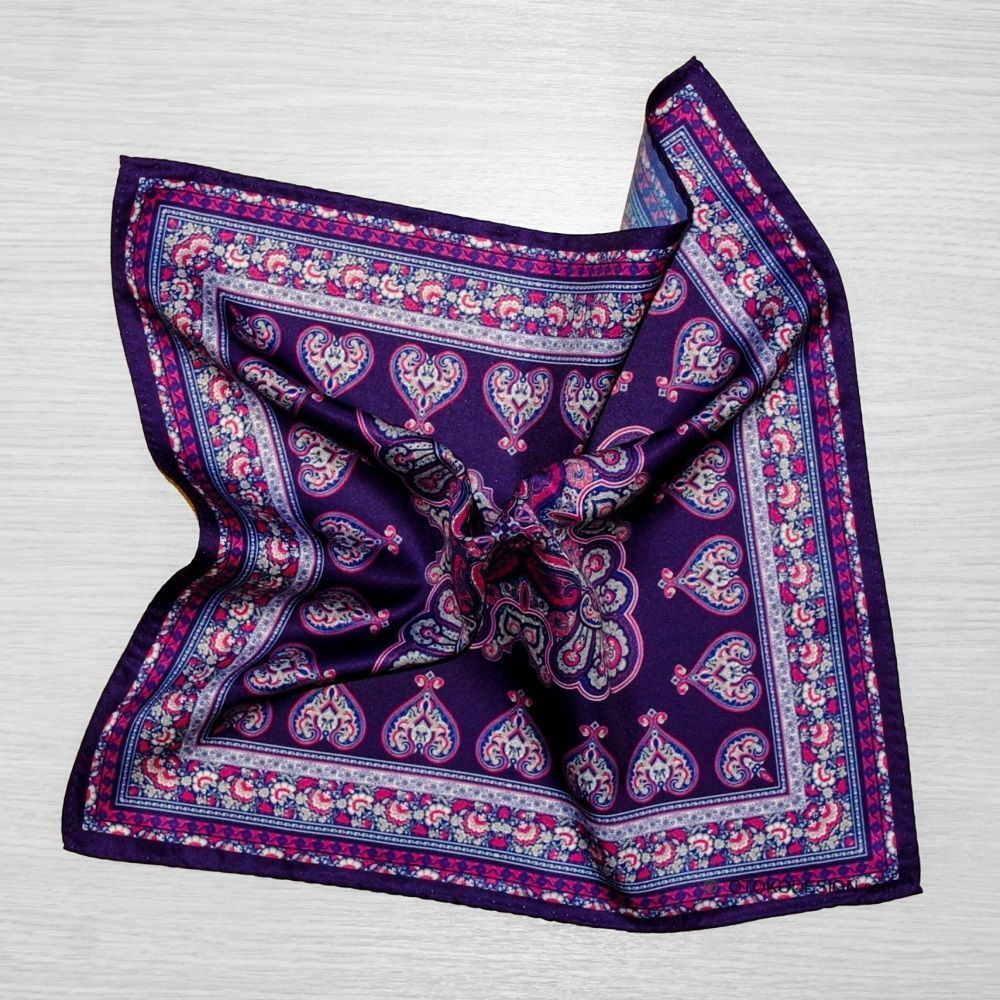 Pocket Square Purple With Cucumber Texture (50031)