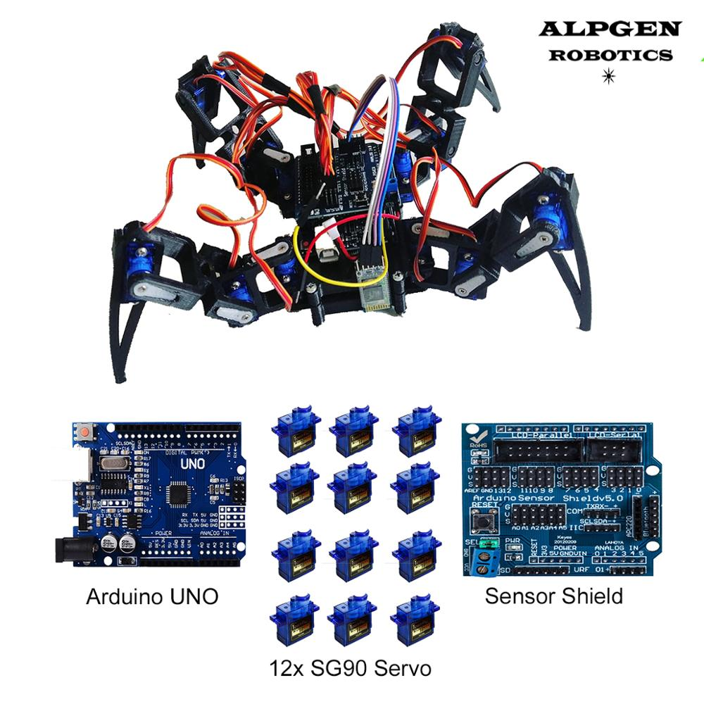 Arduino UNO R3 Spider Robot Sensor Shield Four Led SG90 Servo Control DIY Student Project Kit
