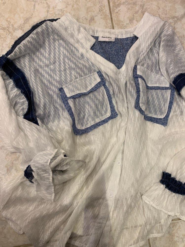 Summer New Korean Style Women Shirt Wild Casual Fashion Fashion Blouses And Tops Female Stitching Chiffon Shirts photo review