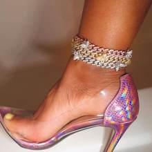 Tobillera con cuentas de mariposa para mujer, joyería de estilo Hip Hop, cadena de cristal cubana, joyería ostentosa para el pie, 1 Uds.