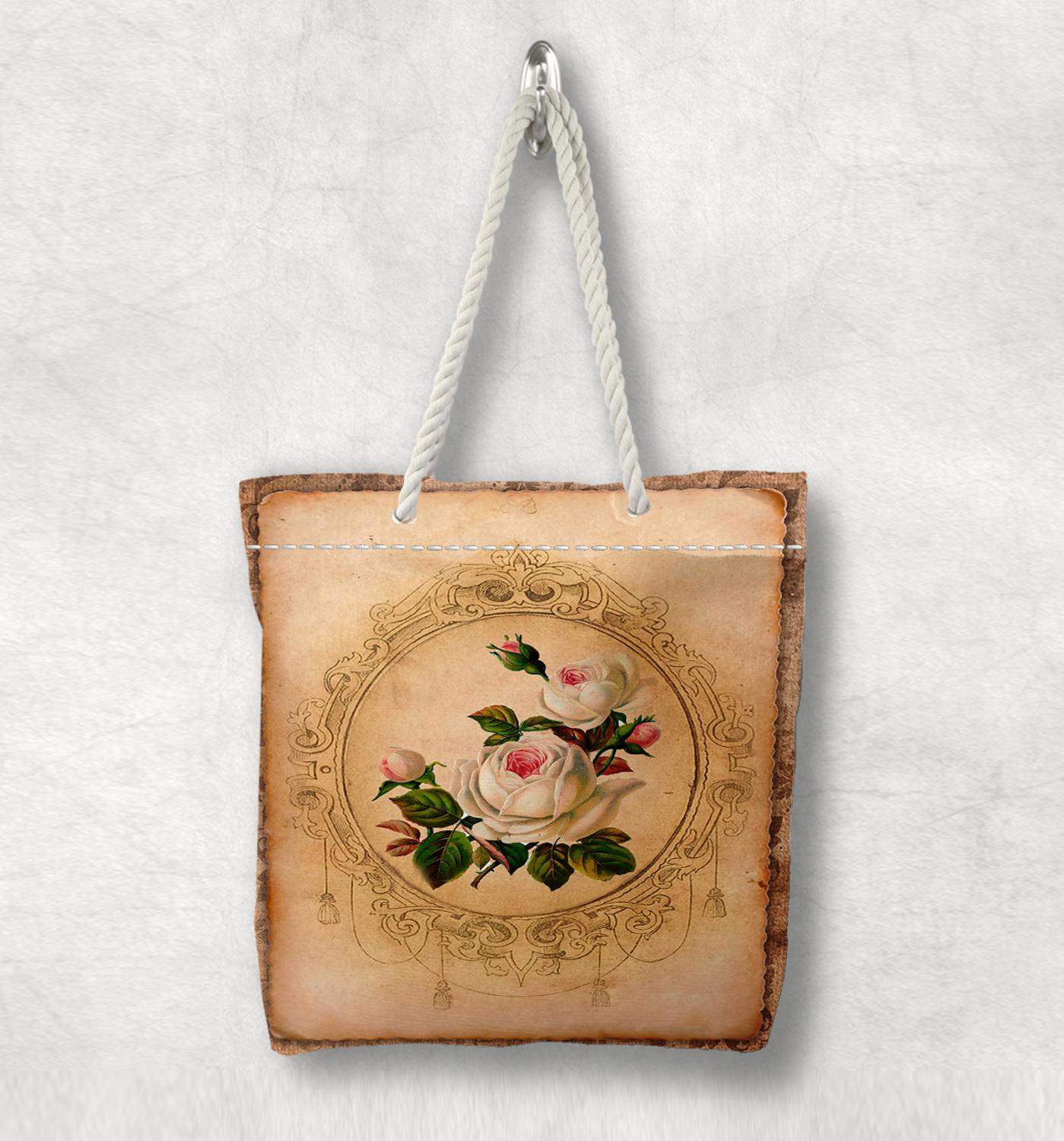 Else Brown Vintage White Roses Flowers New Fashion White Rope Handle Canvas Bag Cotton Canvas Zippered Tote Bag Shoulder Bag