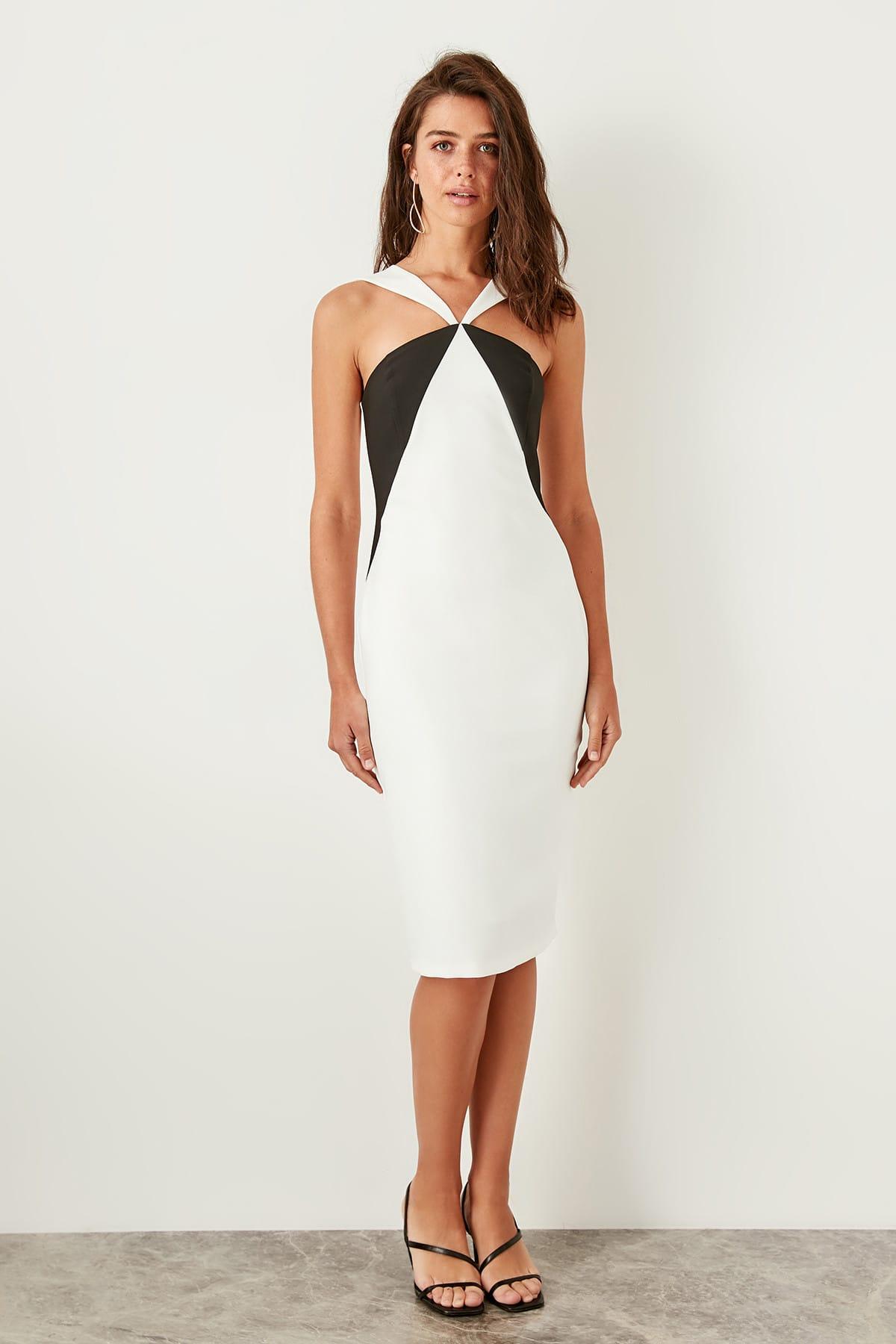 Trendyol Black With Color Block Dress TPRSS19BB0285