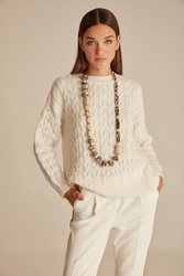 Joinus Cable Knit With Jumper Crew Neck Woman Ecru