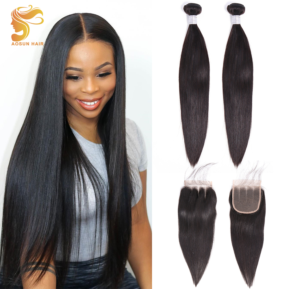 AOSUN HAIR Brazilian Hair Weave Bundles Straight With Closure 100% Human Hair Extension 8-26inch Natural 1B Color Remy Low Ratio