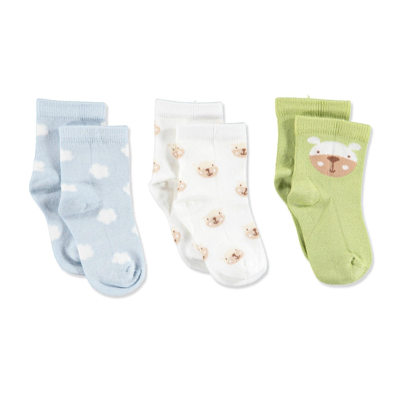Ebebek Petit Minou 3 Pack Baby Socks Clouds Bear