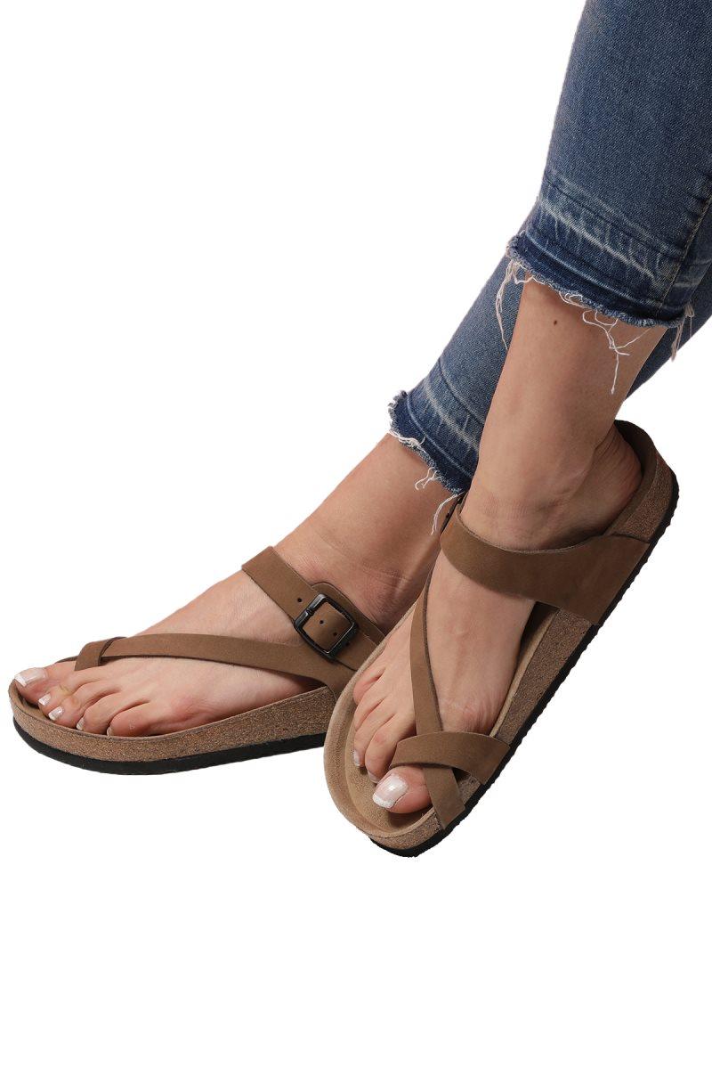 LARISSA Sand Flip-Flops Anatomical Natural Cork Sole Real Leather Women Sandals