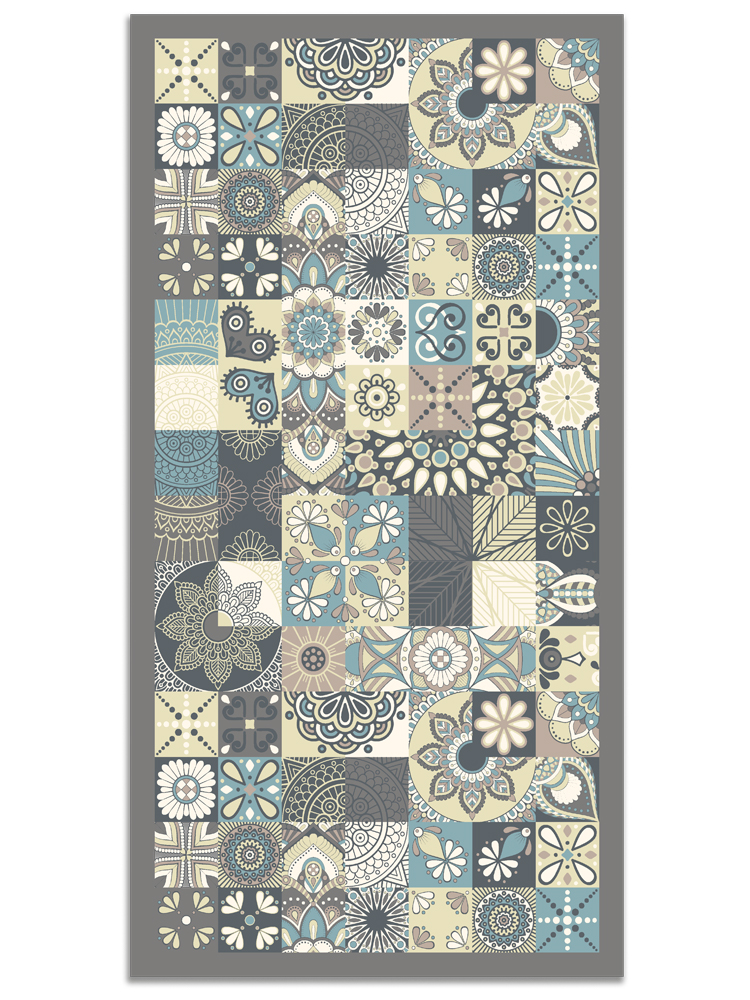 Panorama® Vinyl Rug Printed With Vintage Design In Blue Colour | Kitchen Carpet | Living Room Rug | XXL Rugs | PVC Rugs…