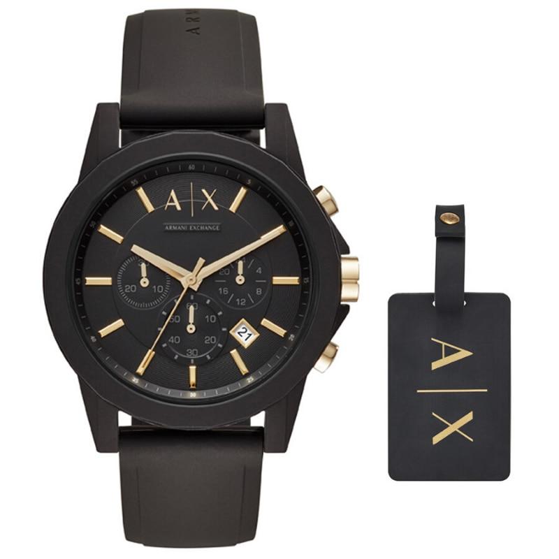Original Armani Exchange Men's Chronograph Dress Watch Men's Set Wristwatch  Brand Luxury Set Quartz watch 50m. Waterproof AX710