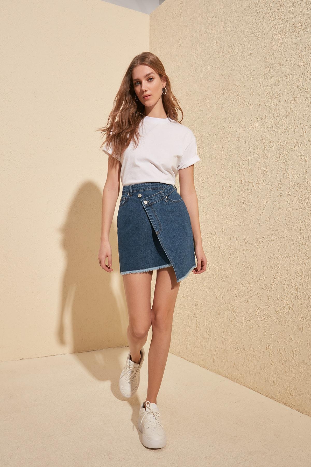 Trendyol Asymmetrical Denim Skirt TWOSS20ET0446