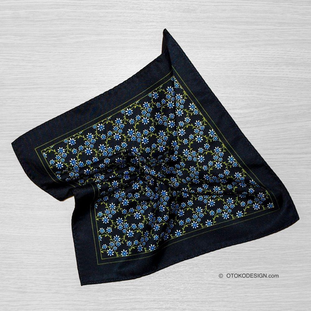 Pocket Square Silk Blazer Dark Blue With Blue Flowers (51836)