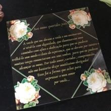 White Peony Acrylic Wedding Invitations,10pcs Square Acrylic Anniverary Invitations,Custom Gold Ink Acrylic Birthday Invites